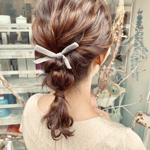 リボン編みおろしヘア